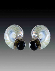Amy Kahn  Russell Nautilus Shell Onyx  Sterling  Clip/Post Earrings