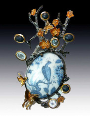 Amy Kahn Russell Porcelain Peacock In Gemstone Branch S/S Pin Pendant - SOLD