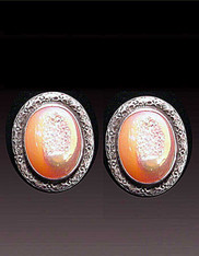 Amy Kahn Russell Peach/Pink Druzy Sterling Clip/Post Earrings