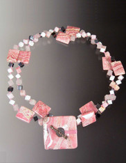 Rhodochrosite, Pink Opal, hematite Dice Square Toggle Necklace