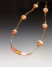 Two Tone Pink Venetian Glass 14K Vine Necklace