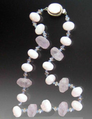 Pink Opal Raw Amethyst  Necklace  - LAST ONE