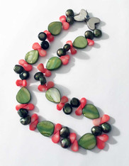 Gauguin's Garden: Pink Coral and Green Mother of Pearl Necklace