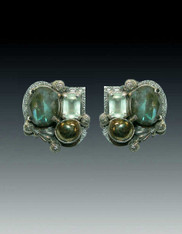 Amy Kahn Russell Labradorite Topaz Pyrite S/S Clip/Post Earrings