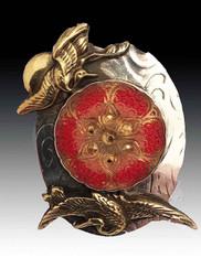 Amy Kahn Russell Japanese Sword Menuki Crane Czech S/S Pin/Pendant
