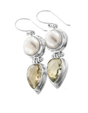 Indonesian Biwa Pearl Lemon Quartz Sterling Silver Dangle Earrings