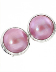 Bali Pink Mabe Pearl Sterling Clip Earrings