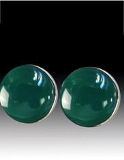 Amy Kahn Russell Green Onyx Sterling Round Clip/Post Earrings