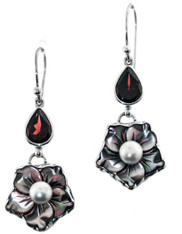 Bali Mother of Pearl Freshwater Pearl Garnet Sterling Dangle Earrings