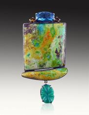 Amy Kahn Russell Huge Primavera Chrysoprase Sterling Pin/Pendant