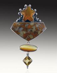 Amy Kahn Russell Starfish Jasper Citrine Pin/Pendant