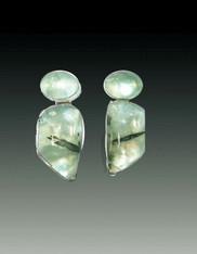 Amy Kahn Russell Prehnite Sterling Clip/Post Earrings
