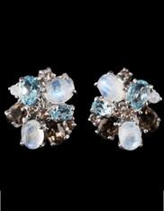 Indonesian Rainbow Moonstone Light Blue Topaz Smoky Quartz Sterling post Earrings