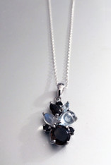 Indonesian Rainbow Moonstone Topaz Smoky Quartz sterling Pendant and Chain