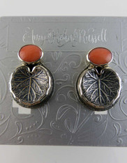 Amy Kahn Russell Coral Patterned Silver Leaf Clip/Post Earrings