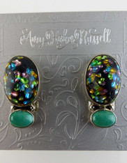 Amy Kahn Russell Vintage Glass Turquoise Sterling Clip/Post Earrings