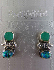 Amy Kahn Russell Chrysoprase Silver Quartz Clip/Post Earrings