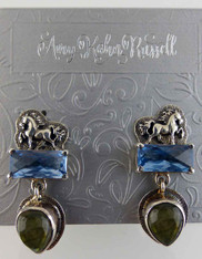 Amy Kahn Russell Silver Horse Blue Topaz Labradorite Clip/Post Earrings