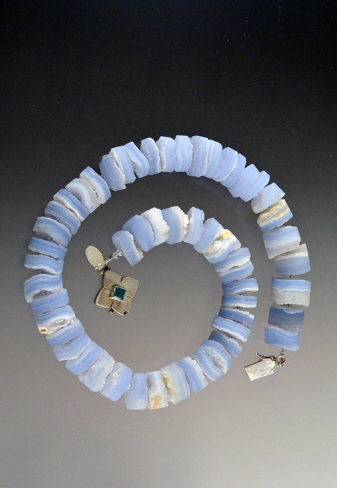 This raw blue calcedony spiral collar goes with everything all year round.
