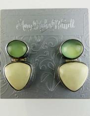 Amy Kahn Russell Lemon Chrysophrase Moonstone Clip/Post Earrings