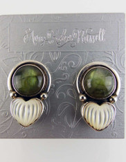 Amy Kahn Russell Labradorite Dome Moonstone Sterling Clip/Post Earrings