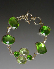 Bali Green Quartz Sterling Toggle Bracelet