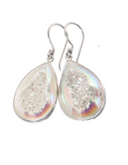 Indonesian Iridescent Opal Titanium Druzy Sterling Earrings