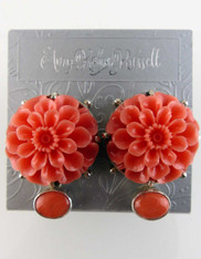 Amy Kahn Russell Coral Flower Clip Post Earrings