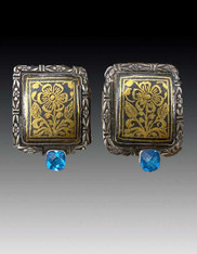 Amy Kahn Russell Byzantine Floral Blue Topaz Sterling Clip/Post Earrings