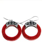 Indonesian Handmade Sterling Red Coral Hoop Earrings