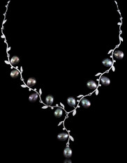 100% Natural Tahitian Black South Sea Pearl Sterling Necklace