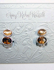Amy Kahn Russell Citrine Topaz Stud Silver Clip/Post Earrings