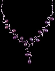Indonesian Peacock/Wine Freshwater Pearl Sterling Necklace