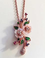Indonesian Tanzanite Tsavorite Tourmaline Rose Gold Silver Pendant Necklace