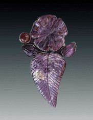 Amy Kahn Russell Hand-Carved Charoite, Amethyst, Garnet Sterling Pin, Pendant