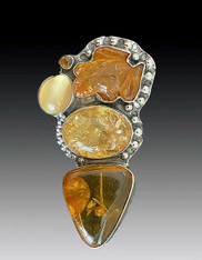 Amy Kahn Russell Hand-Carved Baltic and Copal Amber Pin/Pendant - SOLD