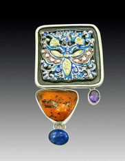 Amy Kahn Russell HUGE Baltic Amber Enamel Lapis S/S Pin/Pendant SOLD