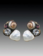 Echo of the Dreamer Spiral Shell, Tourmaline, Topaz Pearl Clip Earrings