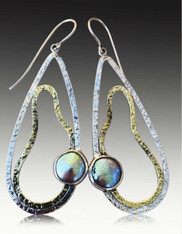 Echo of the Dreamer Large and Light Sterling Bronze Pearl Dangle Earrings