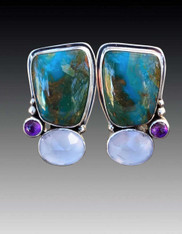 Echo of the Dreamer Andean Opal Amethyst Clip Earrings