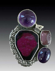 Brand New - Amy Kahn Russell Wine Agate Amethyst  Pin/Pendant - SOLD