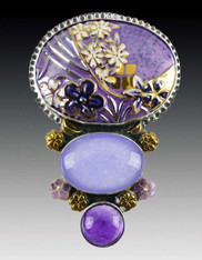 Amy Kahn Russell Lilac Porcelain, Quartz, Amethyst Sterling Pin/Pendant SOLD