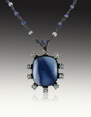 Natural Blue Opal White Topaz Wire Wrapped Owyelee Chain Pendant