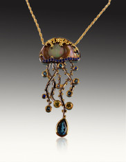 Handmade Abalone London Blue Tanzanite Yellow Sapphire Jellyfish Pendant  SOLD