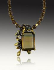 Handmade Natural 23kt Golden Fluroite Pendant