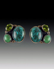 Amy Kahn Russell Turquoise Peridot Clip/Post Earrings