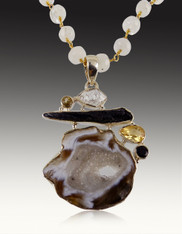 Citrine Druzy Pendant on Wire Wrapped Moonstone Chain SOLD