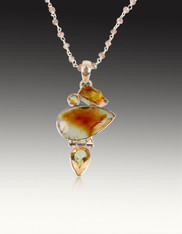 Citrine Agate Sterling Pendant on Moonstone Wire Wrapped Chain