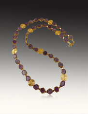 24K Leaf Corundum slices With 22K Swirl Vermeil Spacers