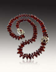 German Grade AAA Hessionite Garnet with Silver Garnet Focal Bead